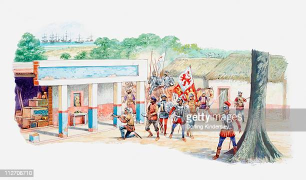 illustration of spanish conquistadors claiming aztec village - exploitation stock illustrations, clip art, cartoons, & icons