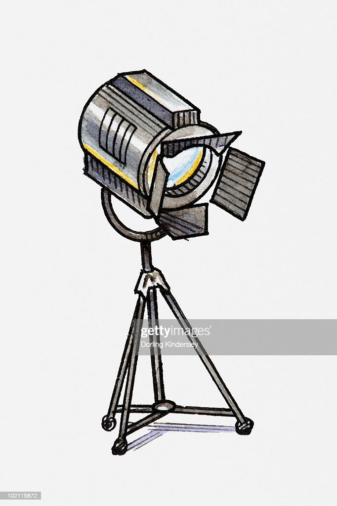 Illustration of spotlight on tripod : stock illustration