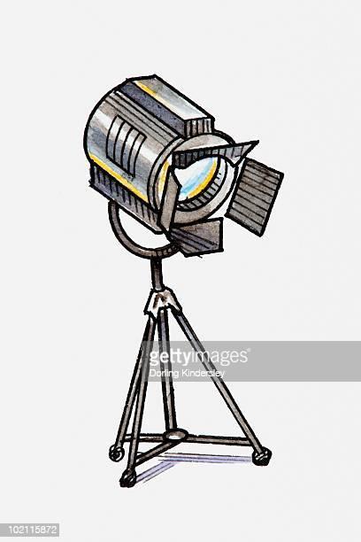 Illustration of spotlight on tripod