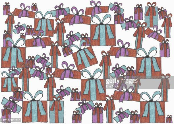 illustration of stacked gifts on white background - consumerism stock illustrations