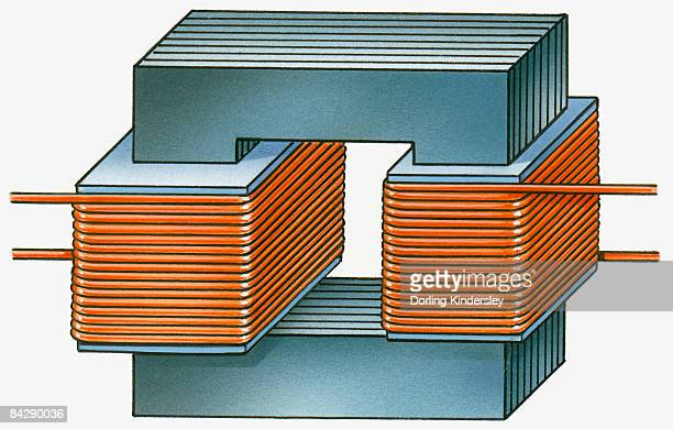 illustration of step down transformer with iron core, primary and secondary spirals - imagem a cores stock illustrations