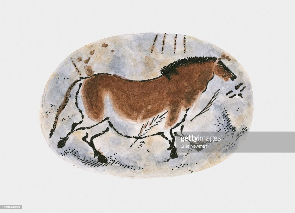 Illustration of stone age cave painting of dun horse at Lascaux : stock illustration