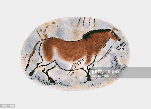 illustrazioni stock, clip art, cartoni animati e icone di tendenza di illustration of stone age cave painting of dun horse at lascaux - paleolitico