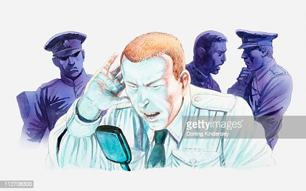 Illustration of stressed air traffic control operator using transceiver after losing contact with aircarft