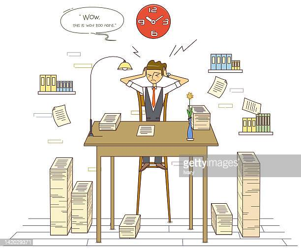 Illustration of stressed student with stack papers