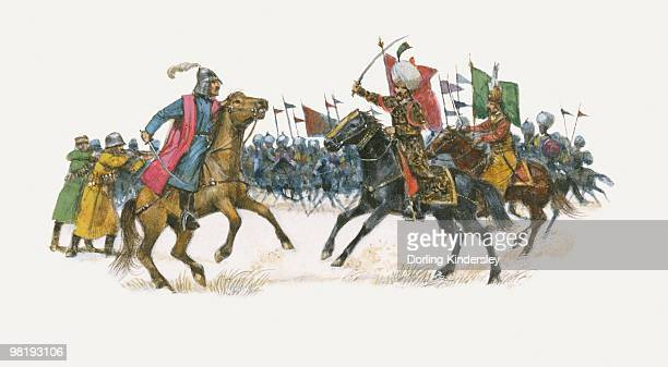 Illustration of Suleiman The Magnificent during Battle of Mohacs