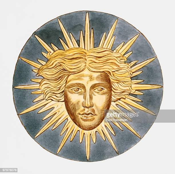 illustration of sun king emblem of louis xiv of france - louis xiv of france stock illustrations, clip art, cartoons, & icons