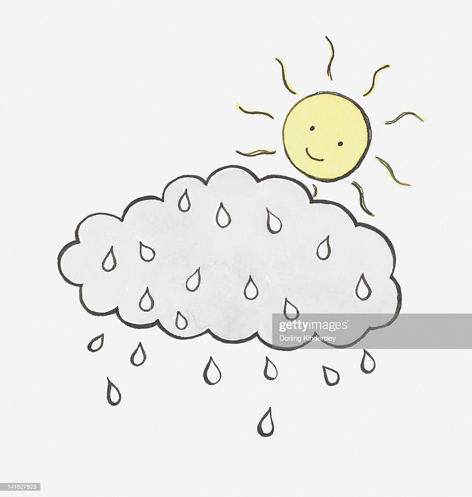 Illustration Of Sun With Smiley Face Looking Down At Rain And Cloud