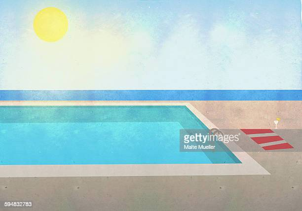 illustration of swimming pool on sunny day - 2015 stock illustrations