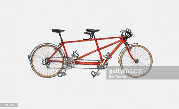 ilustraciones, imágenes clip art, dibujos animados e iconos de stock de illustration of tandem bicycle - foto de estudio