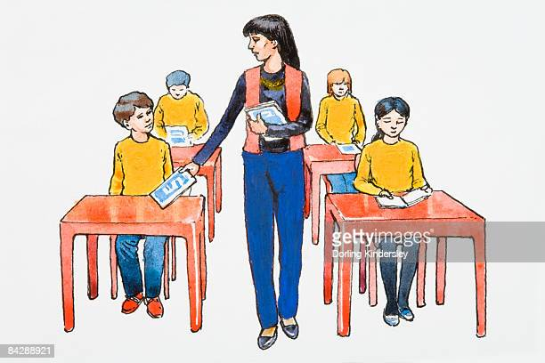 ilustrações de stock, clip art, desenhos animados e ícones de illustration of teacher giving books to elementary students sitting at desks in classroom - cabelo preto