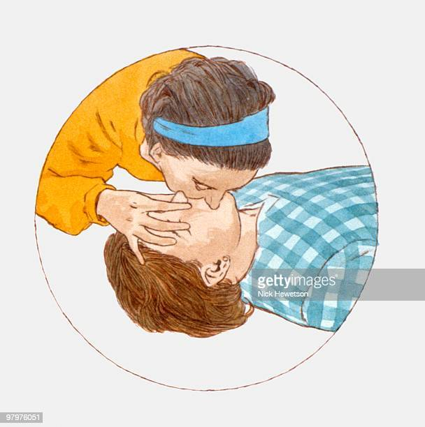 Illustration of teenage girl giving mouth-to mouth resuscitation to young man