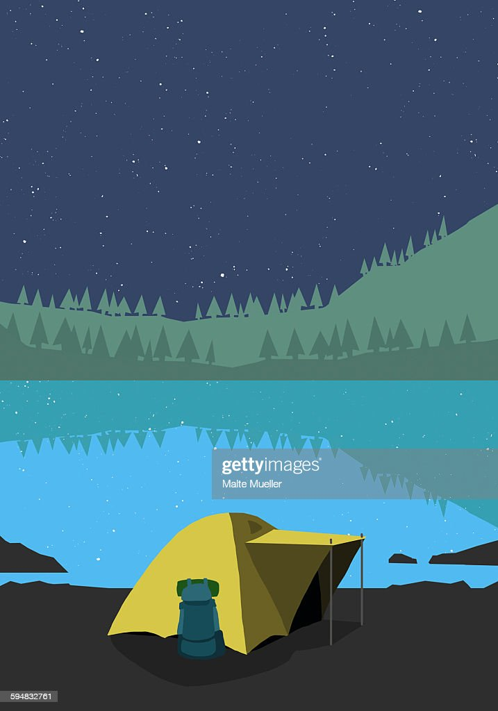 Illustration of tent at lakeshore during night