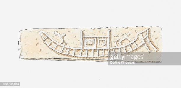illustration of terracotta amulet showing a trading ship, mohenjo-daro, indus valley - ancient civilization stock illustrations, clip art, cartoons, & icons