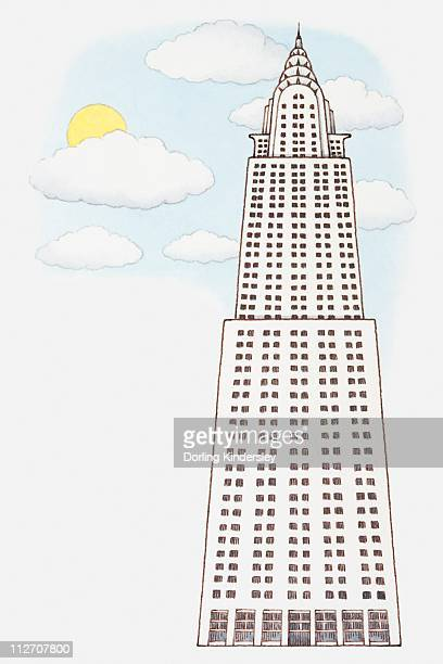 illustration of the chrysler building, low angle view - chrysler building stock illustrations, clip art, cartoons, & icons