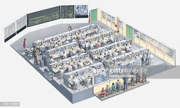 Illustration of the control room of the Apollo 11 space mission