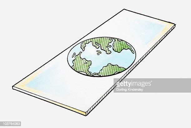 ilustrações, clipart, desenhos animados e ícones de illustration of the earth as a flat shape - surface level