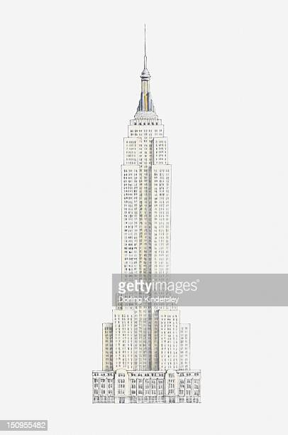 illustration of the empire state building - empire state building stock illustrations