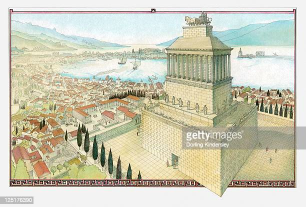 illustration of the mausoleum of halicarnassus - ancient greece stock illustrations