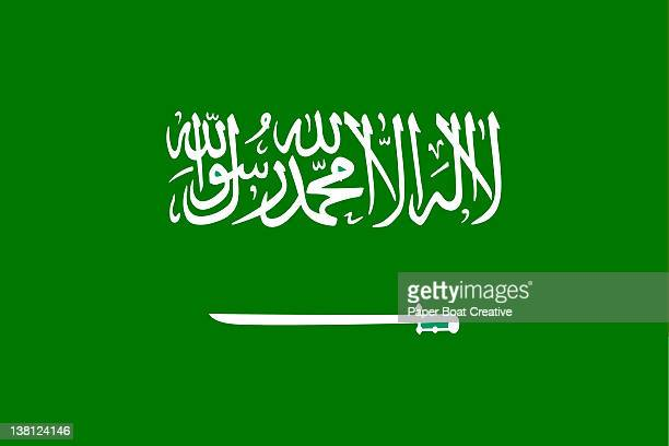 illustration of the national flag of saudi arabia - arabic script stock illustrations, clip art, cartoons, & icons