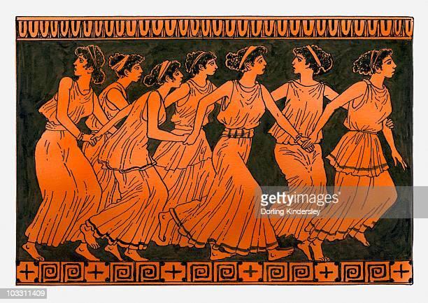 illustrazioni stock, clip art, cartoni animati e icone di tendenza di illustration of the pleiades - mitologia greca