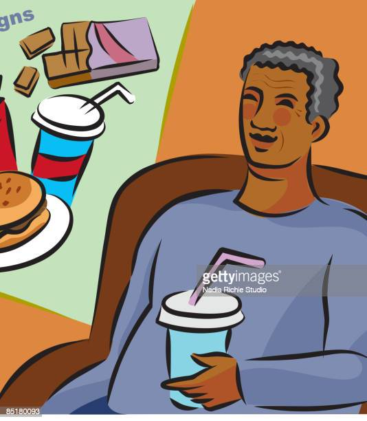 illustration of the risk signs of diabetes showing an overweight elderly man and junk food - unhealthy living stock illustrations, clip art, cartoons, & icons