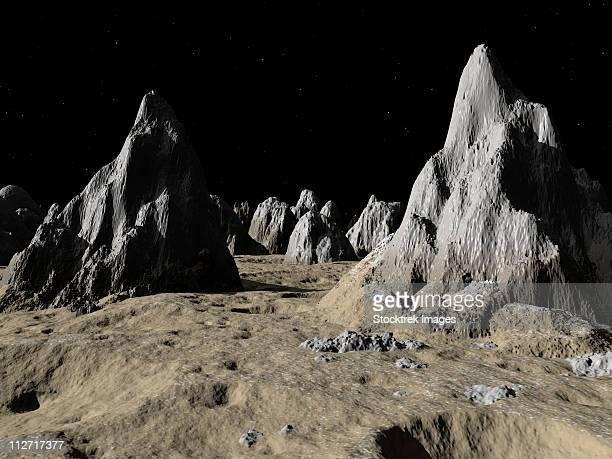 ilustraciones, imágenes clip art, dibujos animados e iconos de stock de illustration of the surface of the massive asgard impact basin on jupiter's moon, callisto. - spire