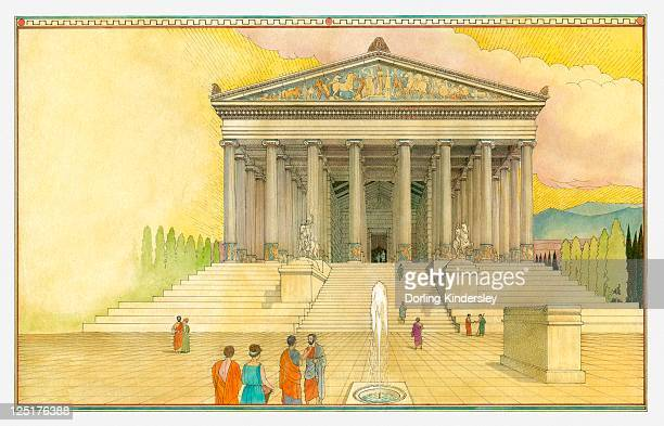 illustration of the temple of artemis - ancient greece stock illustrations
