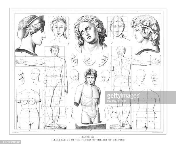 illustration of the theory of the art of drawing engraving antique illustration, published 1851 - greek statue stock illustrations