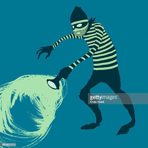 illustrations, cliparts, dessins animés et icônes de illustration of thief against blue background - voleur