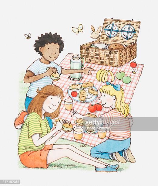 illustration of three children having a picnic - picnic blanket stock illustrations, clip art, cartoons, & icons
