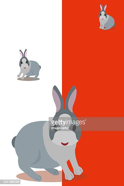 Illustration of three cute rabbits against white and red background