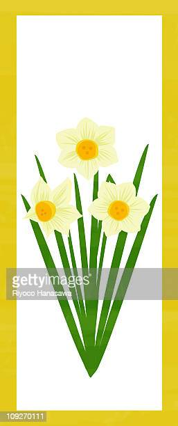 illustration of three daffodils - daffodil stock illustrations, clip art, cartoons, & icons