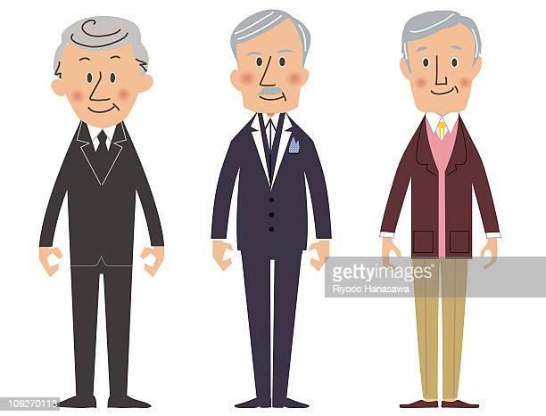 Illustration of three elderly men standing side by side