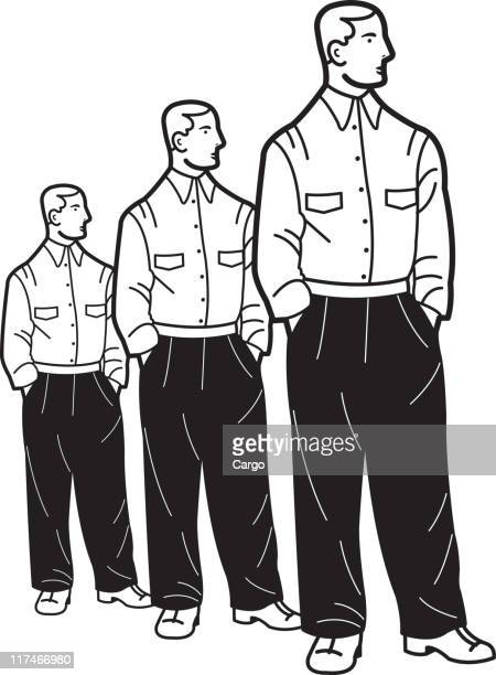 Illustration of three identical men standing with their hands in their pockets