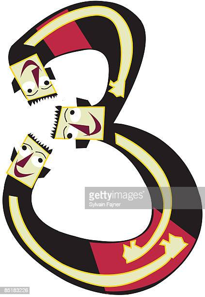 illustration of three men forming the number 3 - contortionist stock illustrations