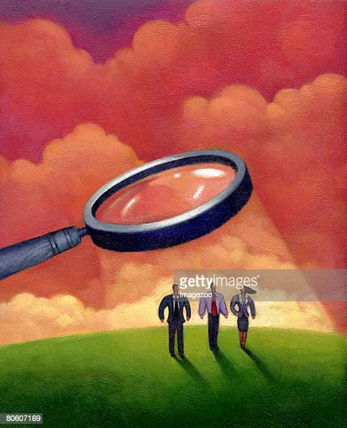 illustration of three people standing underneath a magnifying glass - big brother orwellian concept stock illustrations, clip art, cartoons, & icons