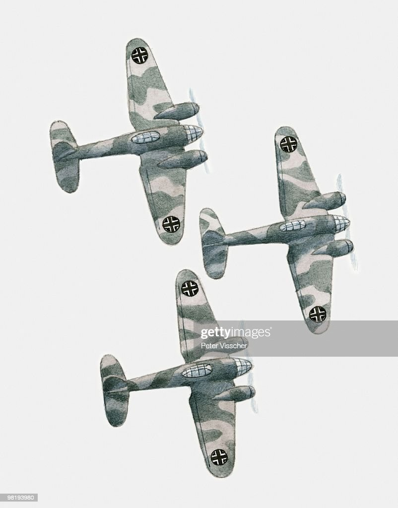 Illustration Of Three World War Two Ju88 Twinengine German
