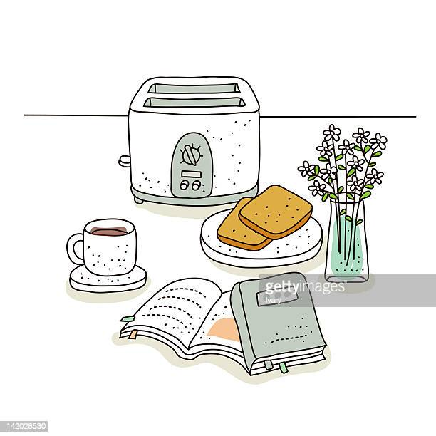 Illustration of toaster and coffee cup