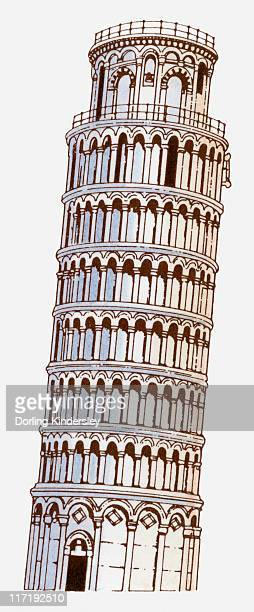 illustration of torre pendente di pisa (tower of pisa) - leaning tower of pisa stock illustrations, clip art, cartoons, & icons