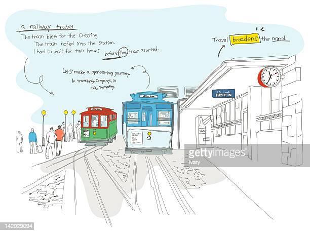 Illustration of train station
