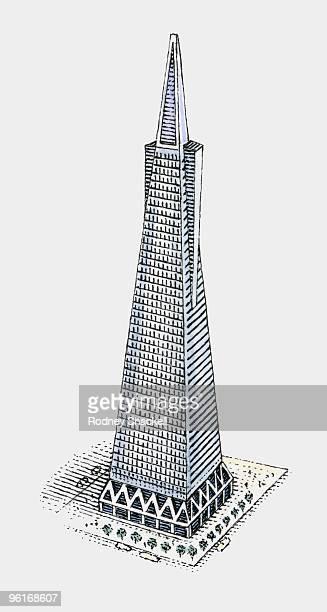 illustration of transamerica building in san francisco - サンフランシスコ金融地区点のイラスト素材/クリップアート素材/マンガ素材/アイコン素材