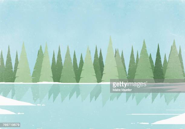 illustration of trees reflection on ice rink against clear blue sky - scenics nature stock illustrations