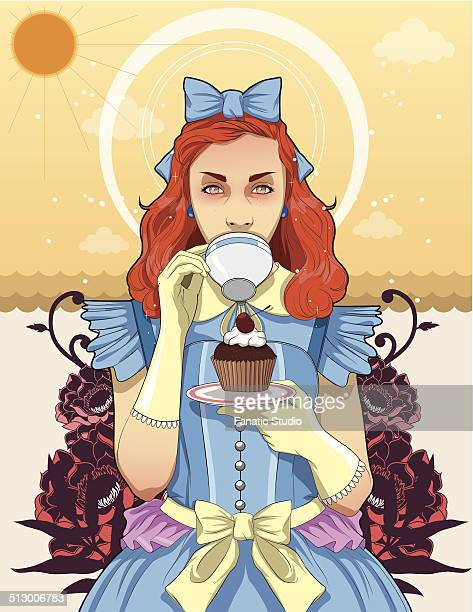 illustration of trendy teenage girl drinking coffee while holding cupcake in plate - one teenage girl only stock illustrations