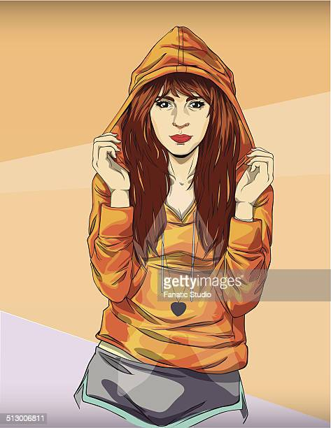 illustration of trendy teenage girl in orange hooded jacket against colored background - teenagers only stock illustrations