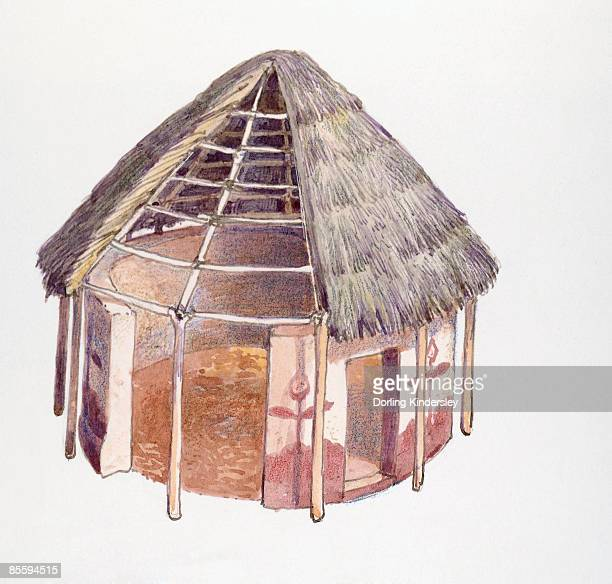 Illustration of Tswana house with thatched roof, Botswana