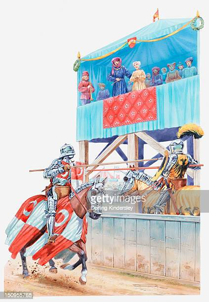 ilustraciones, imágenes clip art, dibujos animados e iconos de stock de illustration of two knights competing in a medieval jousting tournament - ataque animal
