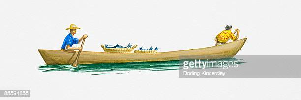 Illustration of two men rowing dugout canoe on River Amazon
