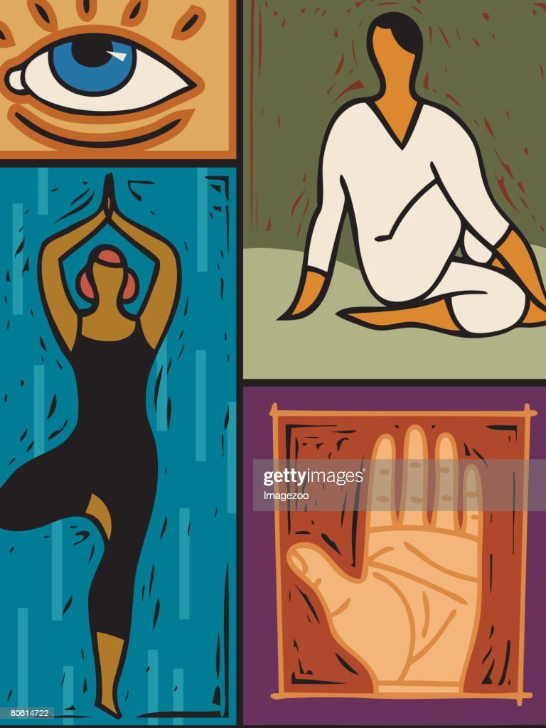 Illustration of two people doing yoga : stock illustration