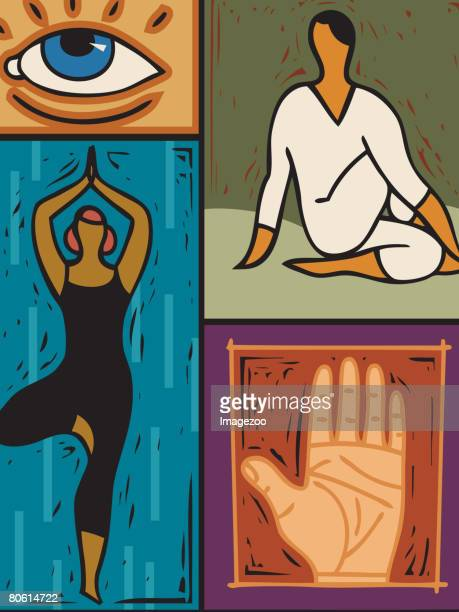 illustration of two people doing yoga - aerobics instructor stock illustrations, clip art, cartoons, & icons